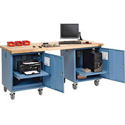 72 x 30 Maple Square Edge Mobile Pedestal Workbench Blue