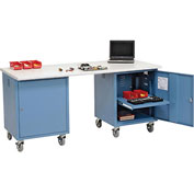 72 x 30 ESD Safety Edge Mobile Pedestal Workbench Blue