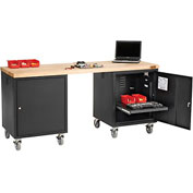 72 x 24 Maple Square Edge Mobile Pedestal Workbench Black