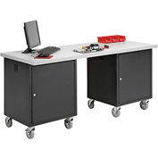 72 x 30 Plastic Square Edge Mobile Pedestal Workbench Black