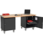72 x 30 Maple Safety Edge Mobile Pedestal Workbench Black