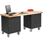 72 x 30 Maple Square Edge Mobile Pedestal Workbench Black