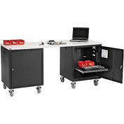 72 x 30 ESD Square Edge Mobile Pedestal Workbench Black
