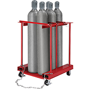 Forkliftable Cylinder Storage Caddy, Mobile For 6 Cylinders