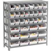 "Steel Shelving with Total 36 4""H Plastic Shelf Bins Stone White, 36x12x39-7 Shelves"