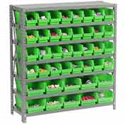 "Steel Shelving with Total 42 4""H Plastic Shelf Bins Green, 36x18x39-7 Shelves"