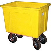 "Wesco® Plastic Box Truck 8 Bushel Yellow 272551 8"" Casters"