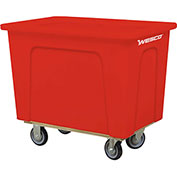 "Wesco® Plastic Box Truck 16 Bushel Red 272521 5"" Casters"