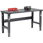 "60""W X 30""D Steel Square Edge Workbench - Adjustable Height - Black"