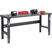 "72""W X 30""D Steel Square Edge Workbench - Adjustable Height - Black"