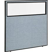 "Interion™ Office Cubicle Partition Panel with Partial Window, 60-1/4""W x 60""H, Blue"