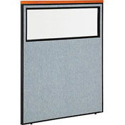 "Interion™ Deluxe Office Cubicle Partition Panel with Partial Window, 48-1/4""W x 61-1/2""H, Blue"