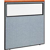 "Deluxe Office Partition Panel with Partial Window, 60-1/4""W x 61-1/2""H, Blue"