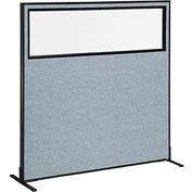 "Freestanding Office Partition Panel with Partial Window, 60-1/4""W x 60""H, Blue"