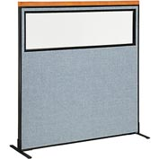 "Deluxe Freestanding Office Partition Panel with Partial Window, 60-1/4""W x 61-1/2""H, Blue"