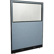 "Interion™ Electric Office Cubicle Partition Panel with Partial Window, 60-1/4""W x 76""H, Blue"