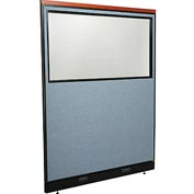 "Interion Deluxe Electric Office Partition Panel with Partial Window, 60-1/4""W x 77-1/2""H, Blue"