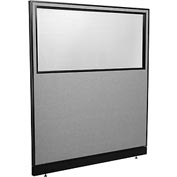 "Interion™ Office Partition Panel with Partial Window & Pass-Thru Cable, 60-1/4""W x 64""H, Gray"