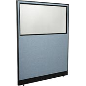 "Office Partition Panel with Partial Window & Pass-Thru Cable, 60-1/4""W x 76""H, Blue"