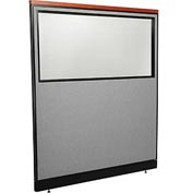 "Interion Deluxe Office Partition Panel - Partial Window & Pass-Thru Cable, 60-1/4""W x 65-1/2""H, Gray"