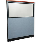 "Interion Deluxe Office Partition Panel - Partial Window & Pass-Thru Cable, 60-1/4""W x 65-1/2""H, Blue"
