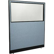 "Office Partition Panel with Partial Window & Raceway, 60-1/4""W x 64""H, Blue"