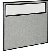 "Interion™ Office Cubicle Partition Panel with Partial Window, 48-1/4""W x 42""H, Gray"