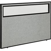 "Interion™ Office Cubicle Partition Panel with Partial Window, 60-1/4""W x 42""H, Gray"