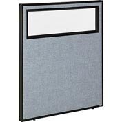 "Interion™ Office Cubicle Partition Panel with Partial Window, 36-1/4""W x 42""H, Blue"