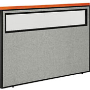 "Interion™ Deluxe Office Cubicle Partition Panel with Partial Window, 60-1/4""W x 43-1/2""H, Gray"