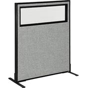 "Freestanding Office Partition Panel with Partial Window, 36-1/4""W x 42""H, Gray"