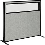 "Freestanding Office Partition Panel with Partial Window, 48-1/4""W x 42""H, Gray"