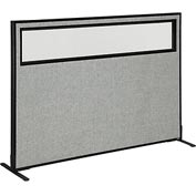 "Freestanding Office Partition Panel with Partial Window, 60-1/4""W x 42""H, Gray"