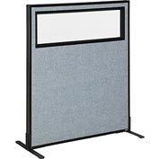 "Freestanding Office Partition Panel with Partial Window, 36-1/4""W x 42""H, Blue"