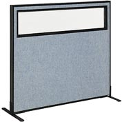"Freestanding Office Partition Panel with Partial Window, 48-1/4""W x 42""H, Blue"
