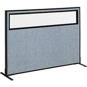 "Interion™ Freestanding Office Cubicle Panel with Partial Window, 60-1/4""W x 42""H, Blue"