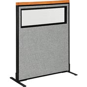 "Deluxe Freestanding Office Partition Panel with Partial Window, 36-1/4""W x 43-1/2""H, Gray"