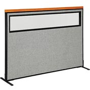 "Deluxe Freestanding Office Partition Panel with Partial Window, 60-1/4""W x 43-1/2""H, Gray"