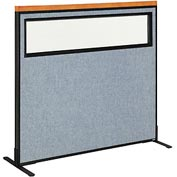 "Deluxe Freestanding Office Partition Panel with Partial Window, 48-1/4""W x 43-1/2""H, Blue"