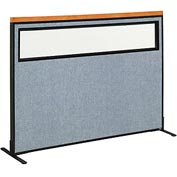 "Interion Deluxe Freestanding Office Cubicle Panel with Partial Window, 60-1/4""W x 43-1/2""H, Blue"