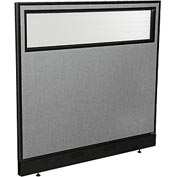 "Office Partition Panel with Partial Window & Raceway, 48-1/4""W x 46""H, Gray"