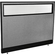 "Interion™ Office Cubicle Partition Panel with Partial Window & Raceway, 60-1/4""W x 46""H, Gray"