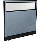 "Office Partition Panel with Partial Window & Raceway, 48-1/4""W x 46""H, Blue"