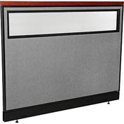 "Interion Deluxe Office Cubicle Panel with Partial Window & Raceway, 60-1/4""W x 47-1/2""H, Gray"