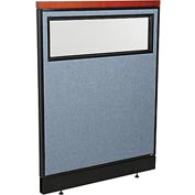 "Interion Deluxe Office Partition Panel with Partial Window & Raceway, 36-1/4""W x 47-1/2""H, Blue"