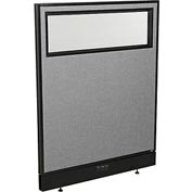"Electric Office Partition Panel with Partial Window, 36-1/4""W x 46""H, Gray"