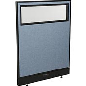 "Interion™ Electric Office Cubicle Partition Panel with Partial Window, 36-1/4""W x 46""H, Blue"