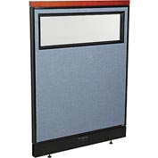 "Deluxe Electric Office Partition Panel with Partial Window, 36-1/4""W x 47-1/2""H, Blue"