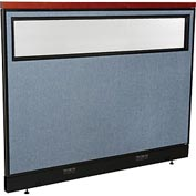 "Deluxe Electric Office Partition Panel with Partial Window, 60-1/4""W x 47-1/2""H, Blue"