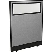 "Office Partition Panel with Partial Window & Pass-Thru Cable, 36-1/4""W x 46""H, Gray"